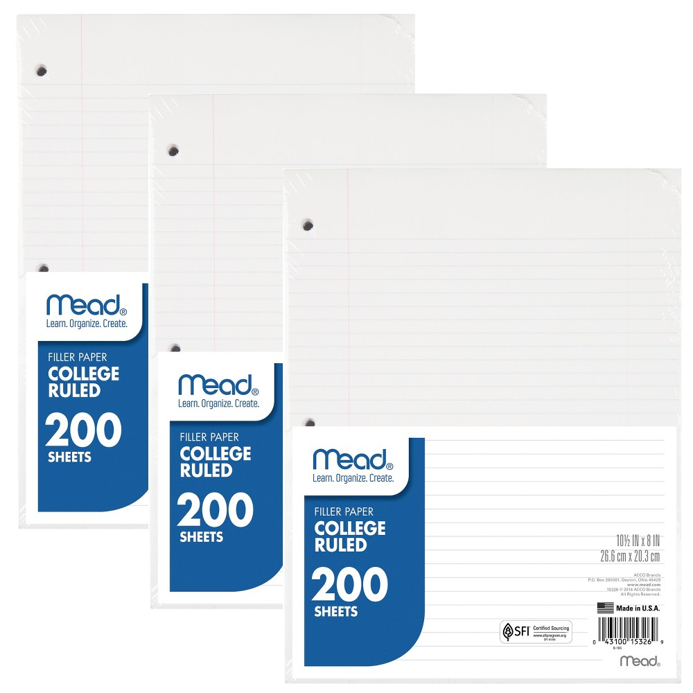 Image of Mead 24pk College Ruled Filler Paper, White