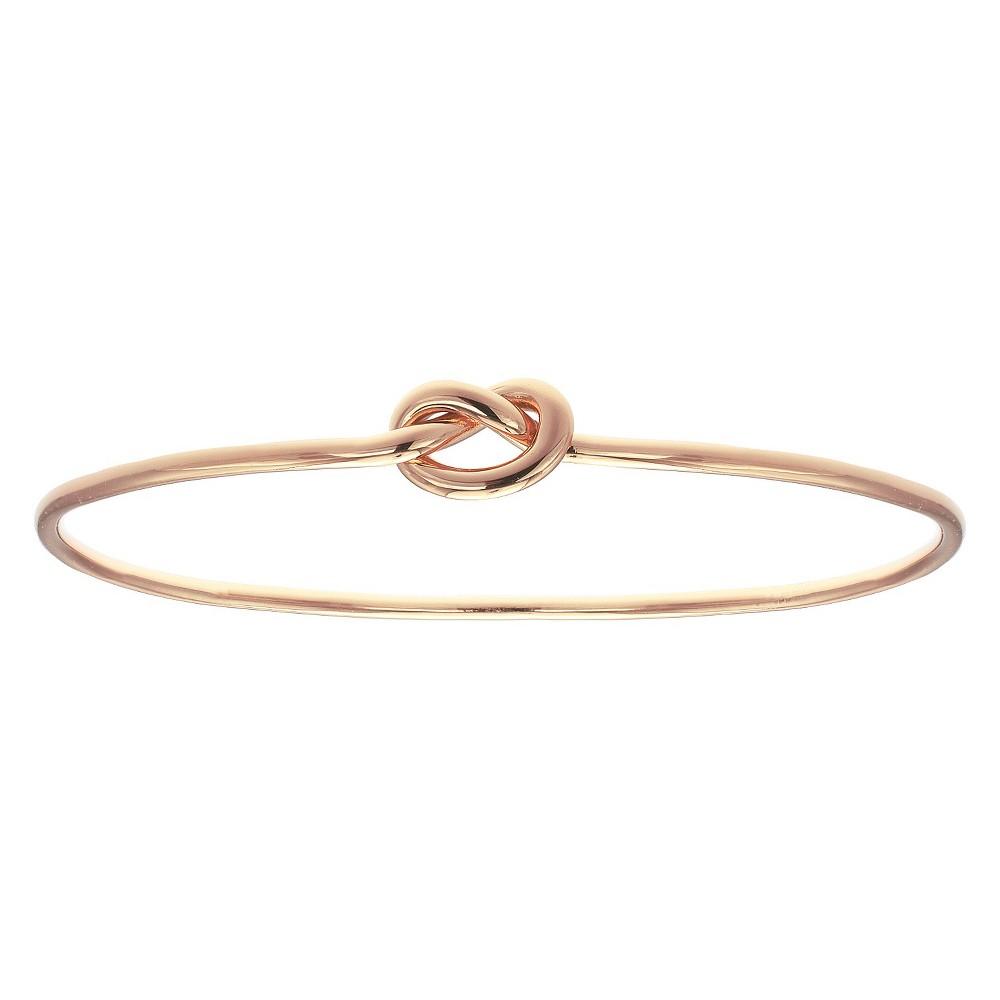 Women's Polished Loveknot Bangle Bracelet in Rose Gold Over Sterling Silver - Rose (2.4)
