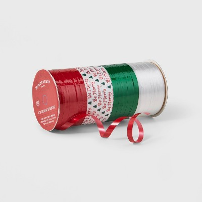 Curl Ribbon 4 End x 125ft Red/White/Green/Print - Wondershop™