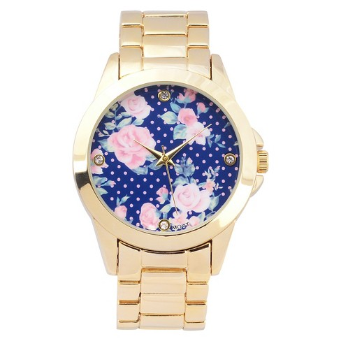 Women's Geneva Platinum Floral Round Face Link Watch - image 1 of 3