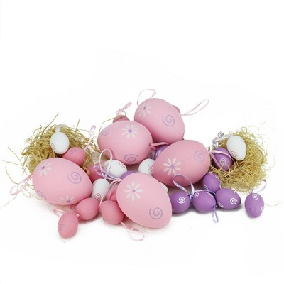 """Northlight 29ct Painted Floral Spring Easter Egg Ornaments 3.25"""" - Pink/Purple"""