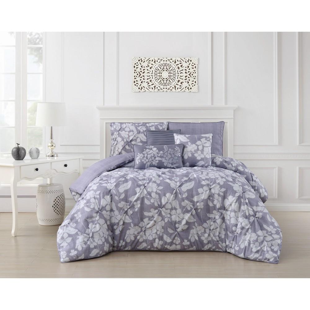 King 6pc Jacqueline Pintuck Comforter Set Orchid - Addison Home