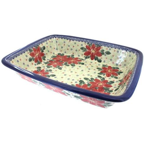 Blue Rose Polish Pottery Poinsettia Lasagna Dish - image 1 of 1