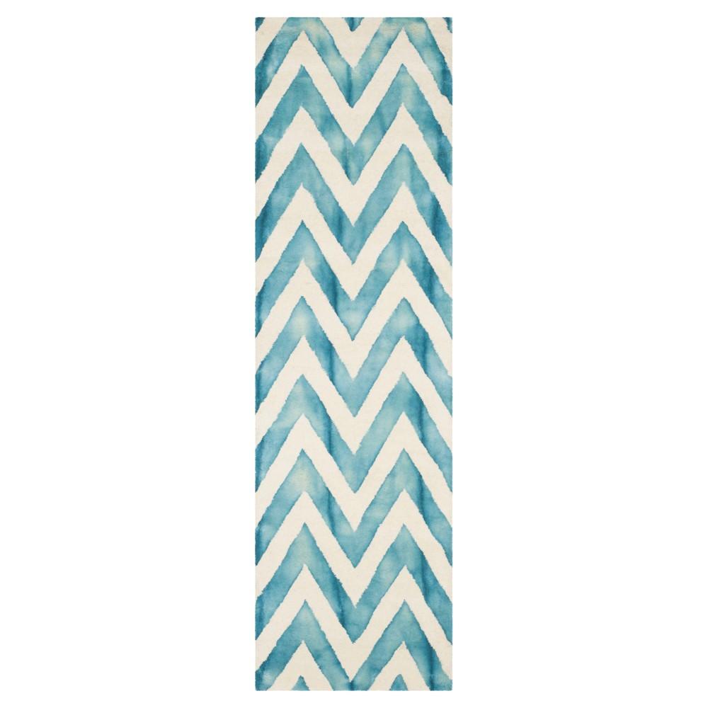 2'3X8' Dip Dye Design Runner Ivory/Turquoise - Safavieh
