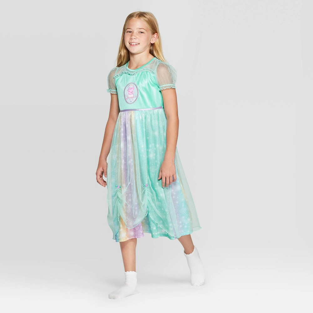 Image of Girls' Peppa Pig Dressy Nightgown - Teal M, Girl's, Size: Medium, Green