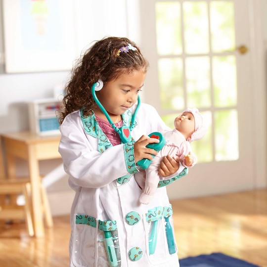 Melissa & Doug Doctor Role Play Costume Dress-Up Set (7pc), Adult Unisex, Size: Large, Red/Gold image number null