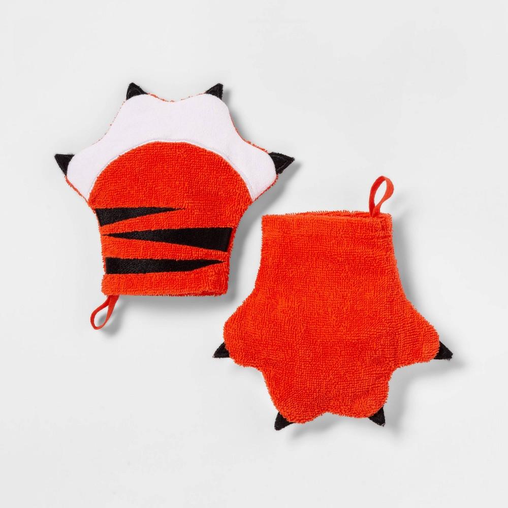 Image of 2pc Tiger Bath Mitts Orange - Pillowfort