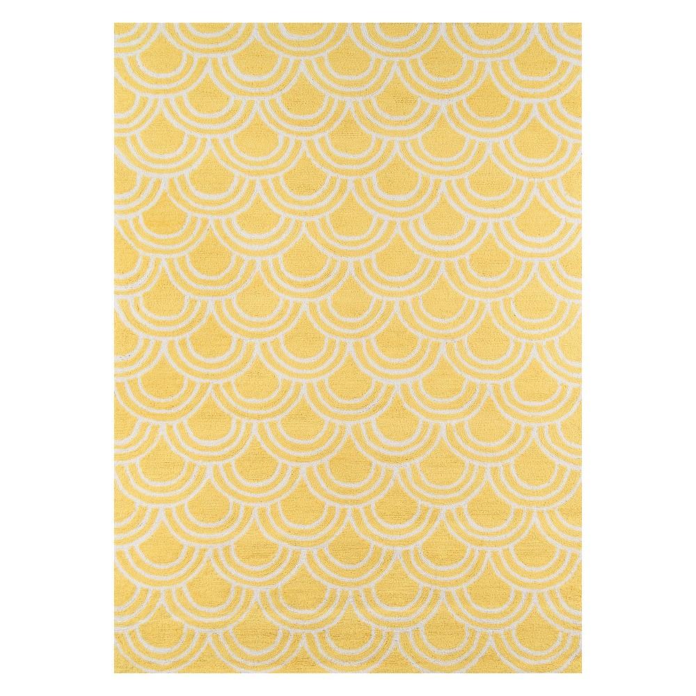 5'X7' Geometric Hooked Area Rug Yellow - Momeni