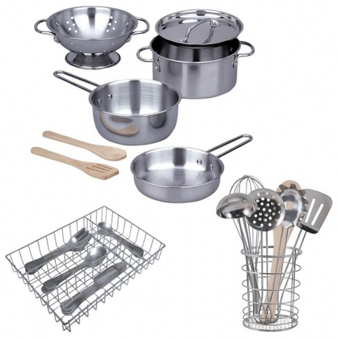 Kaplan Early Learning Pretend Play Stainless Steel Kitchen Essentials - image 1 of 2