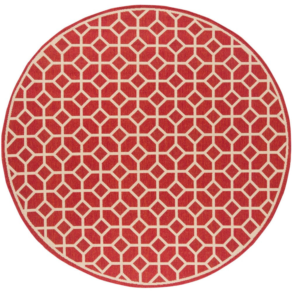 67 Geometric Loomed Round Area Rug Red/Cream - Safavieh Reviews