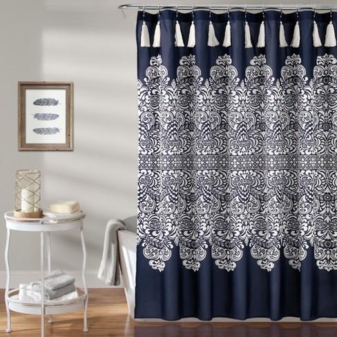 Boho Medallion Shower Curtain Navy