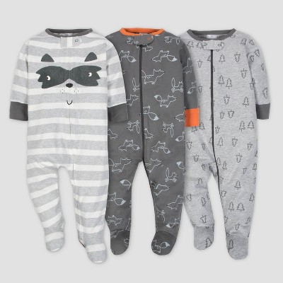 Gerber® Baby Boys' 3pk Sleep 'N Play Explorer - Gray 3/6M