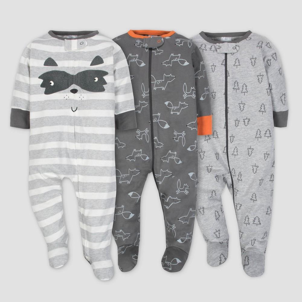 Gerber Baby Boys' 3pk Sleep 'N Play Explorer - Gray 6/9M