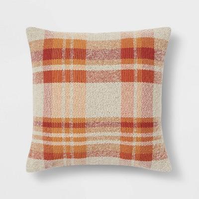 Plaid Square Throw Pillow Cream/Multi - Threshold™