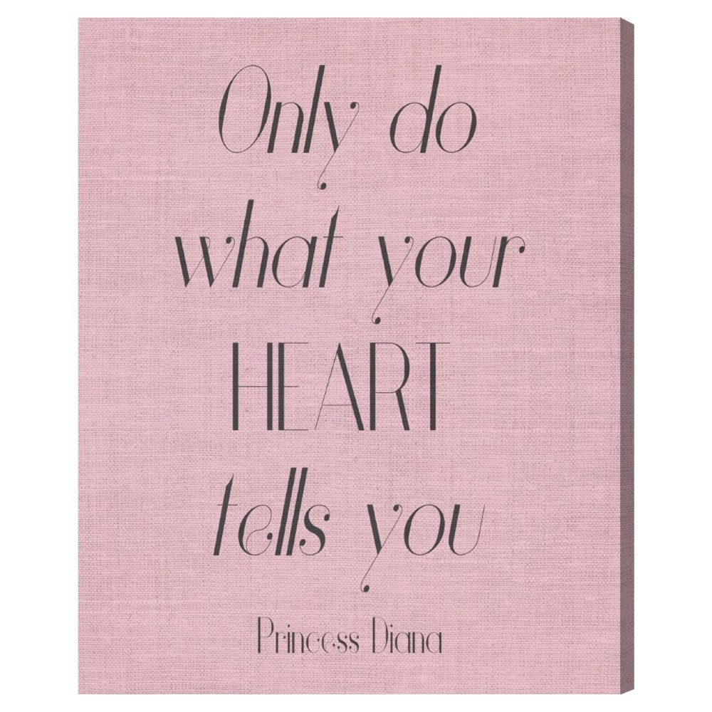"Image of ""Oliver Gal Unframed Wall """"What Your Heart Says"""" Canvas Art (16x12), Pink"""