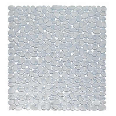 """Carnation Home Fashions Stall Size""""Pebbles"""" Vinyl Bath Mat in clear"""