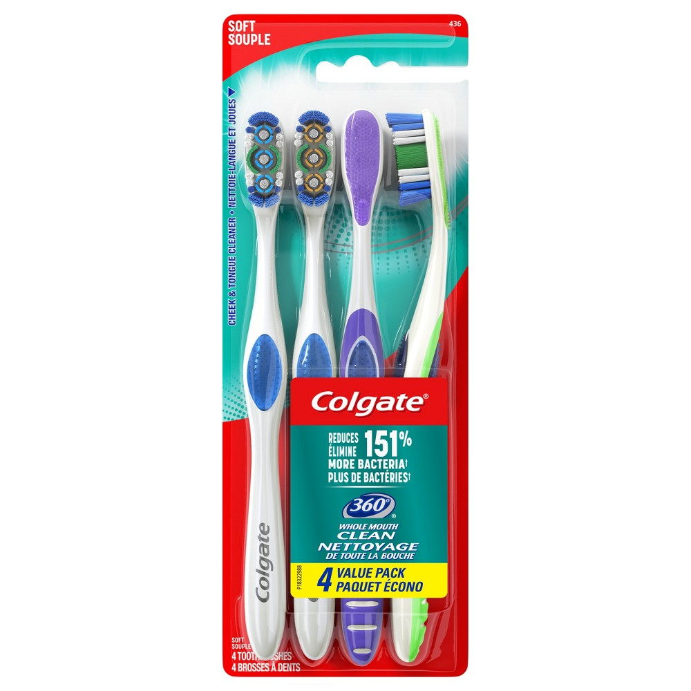 Colgate 360 Toothbrush with Tongue and Cheek Cleaner Soft - 4ct, Will Vary