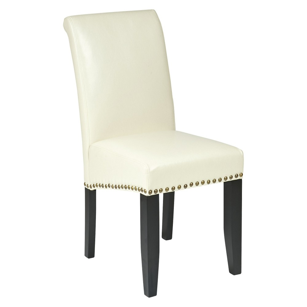 Parsons Nailhead Trim Dining Chair Wood/Cream (Ivory) - Office Star