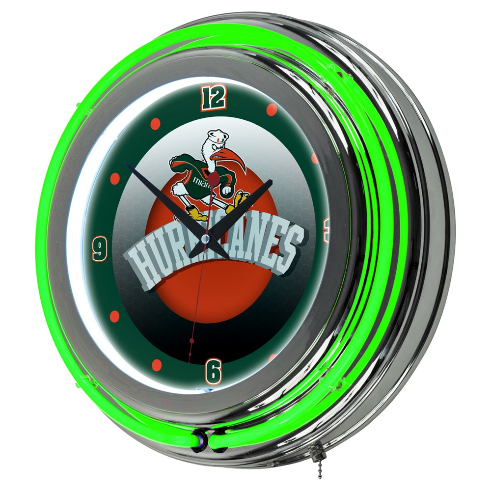 Miami Hurricanes Chrome Double Rung Neon Clock - Honeycomb