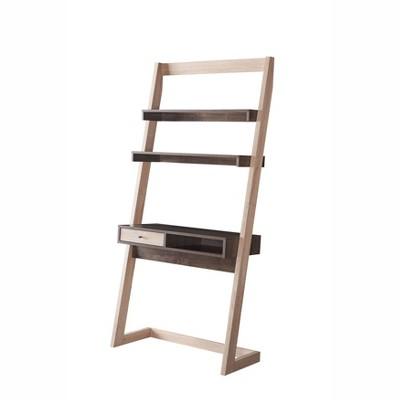 Holten 2 Open Shelves Leaning Desk Weathered White/Walnut Oak - miBasics