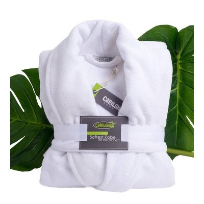 S/M Ultra Plush 100% Rayon from Bamboo Bath Robe White - Cariloha