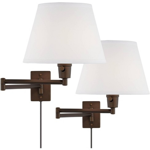 360 Lighting Industrial Swing Arm Wall Lamps Set of 2 Oil Rubbed Bronze Plug-In Light Fixture White Linen Shade Bedroom Bedside - image 1 of 4