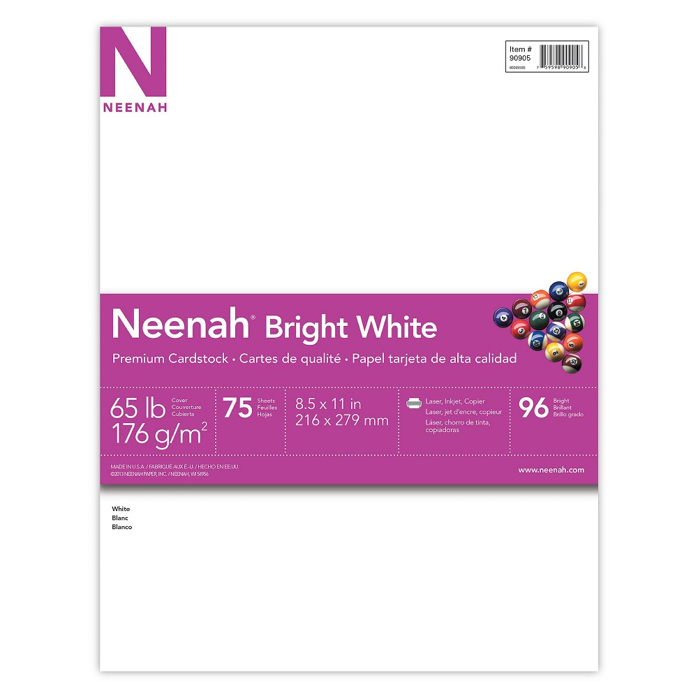 "Image of ""Neenah Bright White Cardstock, 8.5"""" x 11"""", 65lb/176 gsm, 75 Sheets"""