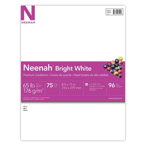 neenah bright white cardstock 8 5 x 11 65lb 176 gsm 75 sheets