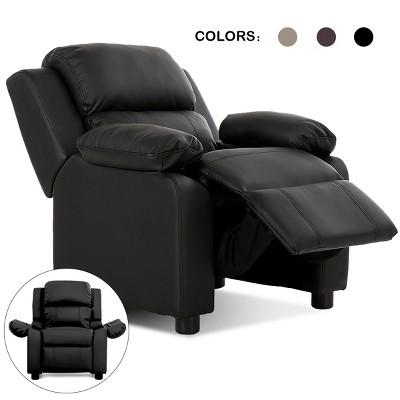 Deluxe Padded Kids Sofa Armchair Recliner Headrest Children w/ Storage Arm Black