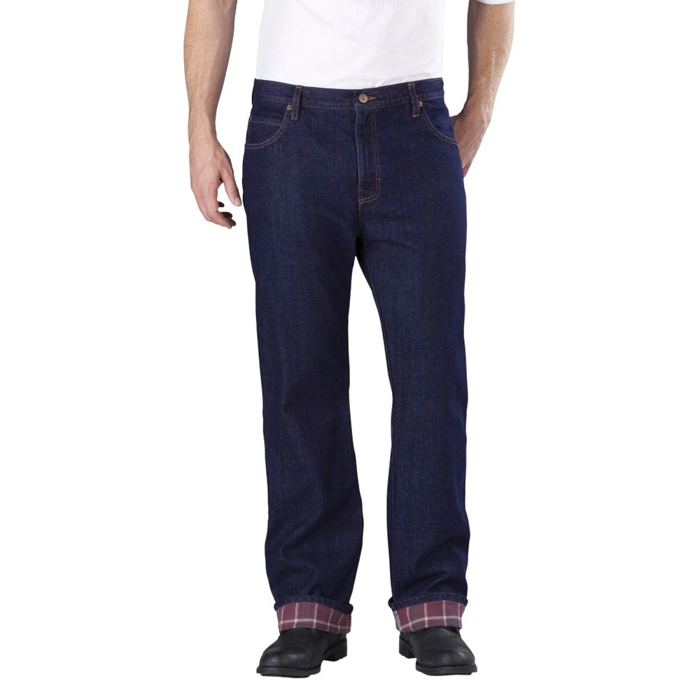 Dickies Men's Relaxed Straight Fit Denim Flannel-Lined 5-Pocket Jeans - Indigo Blue Washed 32x32