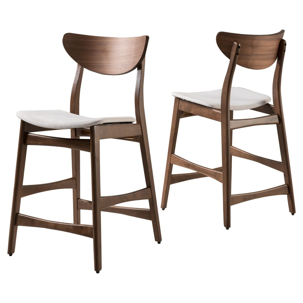 24 Gavin Counter Stool - Walnut Finish - (Set Of 2) - Christopher Knight Home, White