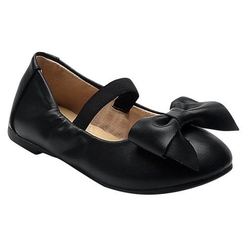 Toddler Girls' Carrie Patent Cinched Topline Bow Ballet Flats Cat & Jack™ - Black 8 - image 1 of 2