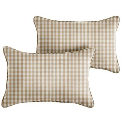 2pk Corded Outdoor Throw Pillows Beige/White