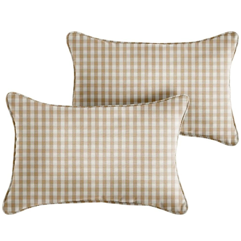 "Image of ""13"""" 2pk Corded Outdoor Throw Pillows Beige/White"""