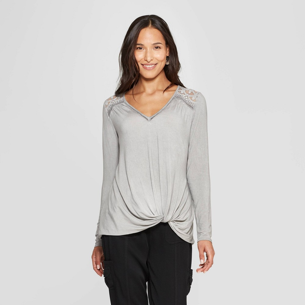 Women's Long Sleeve V-Neck Top - Knox Rose Gray XS