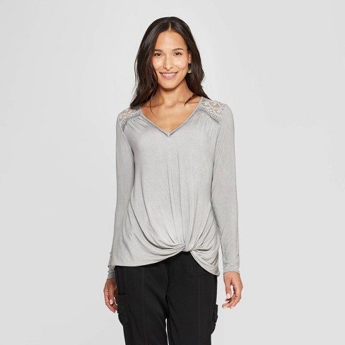 Women's Long Sleeve V-Neck Top - Knox Rose™ Gray XS - image 1 of 2