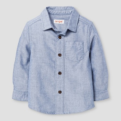 Baby Boys' Button Down Shirt Cat & Jack™ - Blue 12M