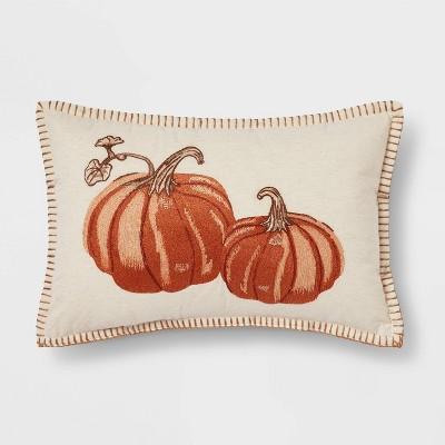 Embroidered Pumpkin Lumbar Throw Pillow Neutral/Orange - Threshold™