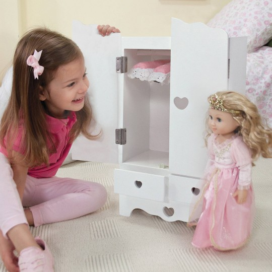 Melissa & Doug White Wooden Doll Armoire Closet With 2 Hangers (12 x 20 x 9 inches) image number null