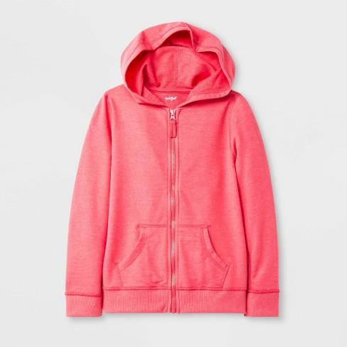 Girls' Adaptive Fleece Zip-Up Hoodie - Cat & Jack™ Coral - image 1 of 1