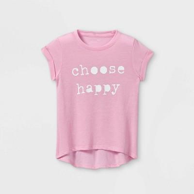 Grayson Mini Toddler Girls' 'Choose Happy' Short Sleeve T-Shirt - Pink