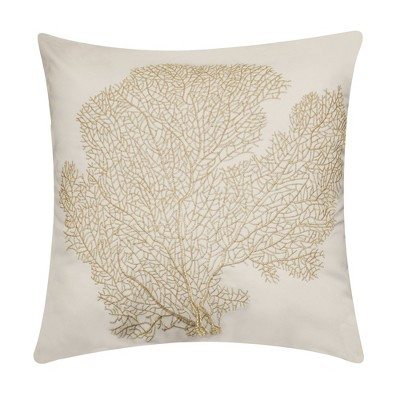"""18"""" x 18"""" Embroidered Printed Coral Patio Throw Pillow - Edie@Home"""
