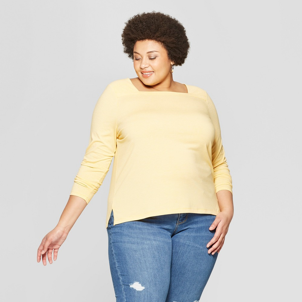 f4716a3d1aa863 Womens Plus Size Striped Long Sleeve Square Neck T Shirt Ava Viv  YellowWhite 1X