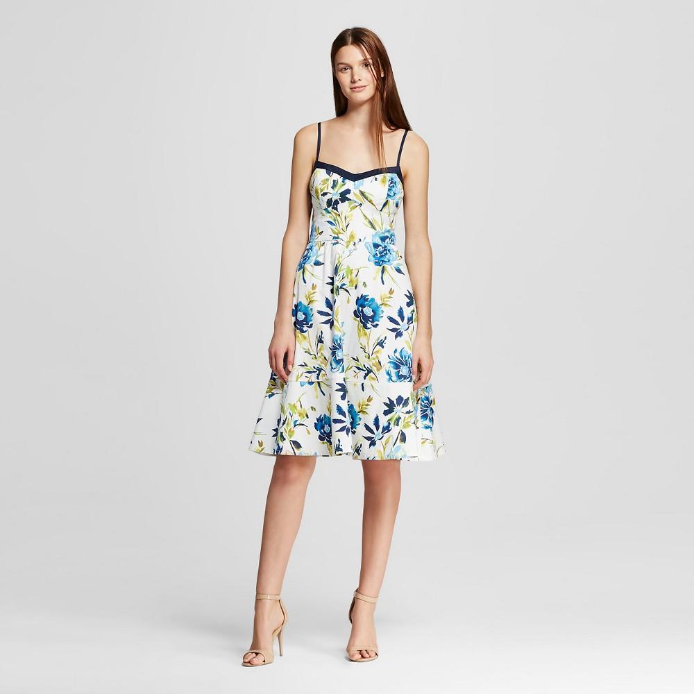 Women's Floral Sweetheart Neckline A-line Dress Blue L - Allen B, Multi-Colored
