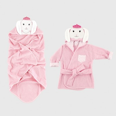 Hudson Baby Girls' Animal Face Hooded Towel & Bath Robe Set, Princess Bunny - Pink 0-9M