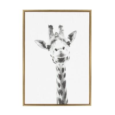 "33"" x 23"" Sylvie Giraffe Animal Print And Portrait By Simon Te Tai Framed Wall Canvas - Kate & Laurel"