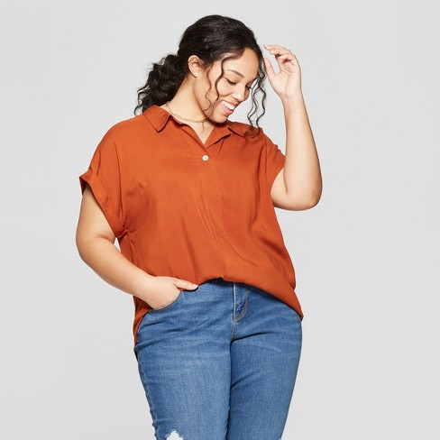 3ce45a32be5 Women s Plus Size Short Sleeve Collared Mixed Media Popover Button-Down  Shirt - Ava   Viv™