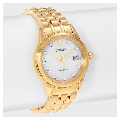 Women's Citizen Diamond EW2392-54A Stainless Steel Diamond Accent Link Bracelet Watch - Gold - image 1 of 4
