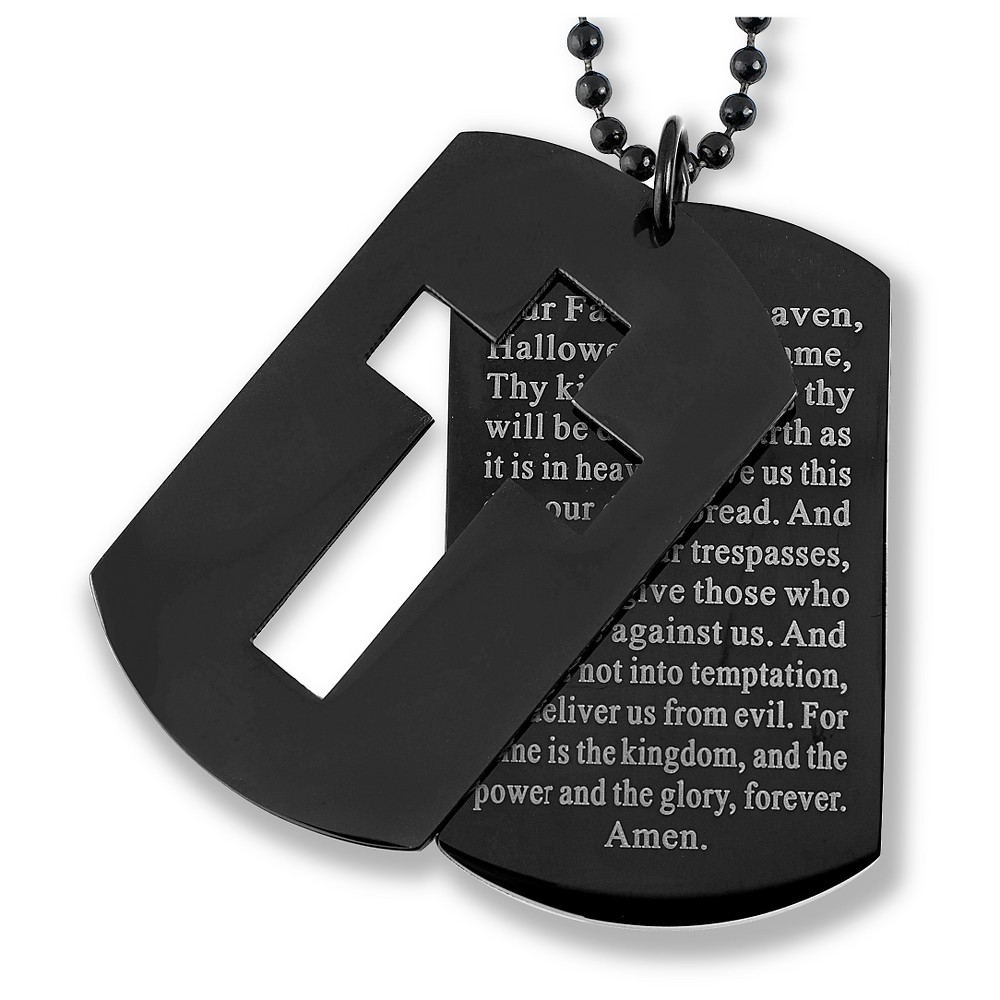 Men's West Coast Jewelry Blackplated Stainless Steel Cross and 'Lord's Prayer' Double Dog Tag Pendant, Black