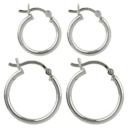 Sterling Silver Duo Click In Hoop Earring Set - Silver